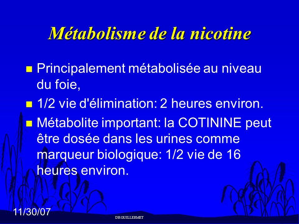 11/30/07 Métabolisme de la nicotine n Principalement métabolisée au niveau du foie, n 1/2 vie d'élimination: 2 heures environ. n Métabolite important: