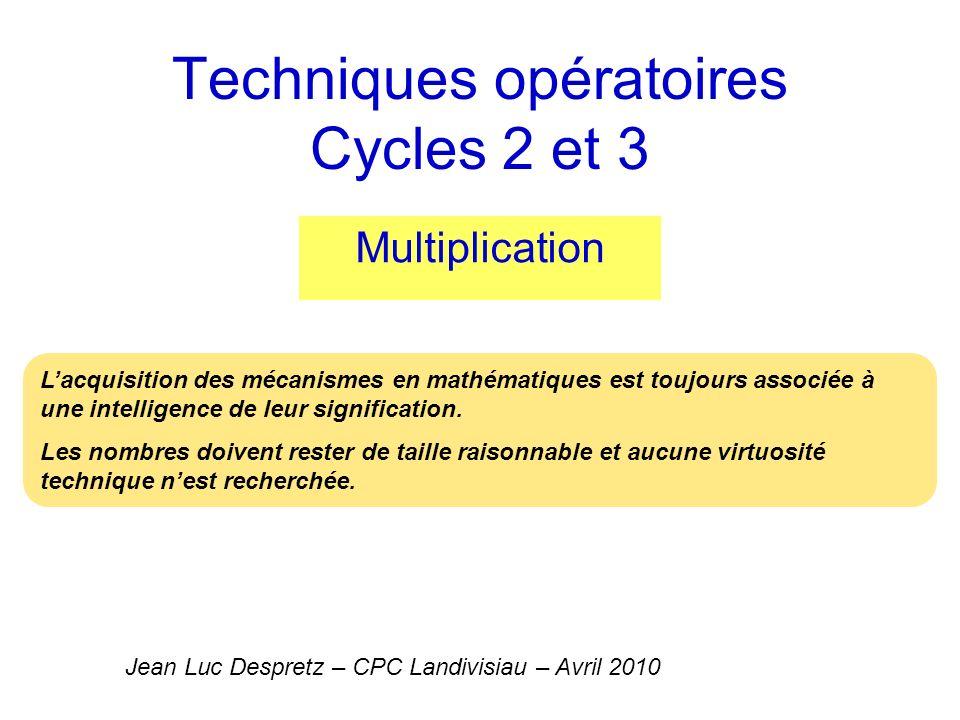 Multiplication Préalables à la multiplication posée Proposer une mémorisation des tables qui a du sens