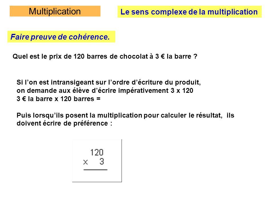Multiplication Préalables à la multiplication posée Un apprentissage progressif et indispensable de la table de multiplication Avant de mémoriser les tables de multiplication, il faut raisonner autour de la table de multiplication (table de Pythagore) La construire avec les élèves en constatant certaines propriétés (en particulier la commutativité) Examiner les relations entre les tables pour établir une progression