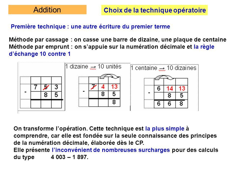 Addition Choix de la technique opératoire Première technique : une autre écriture du premier terme Méthode par cassage : on casse une barre de dizaine