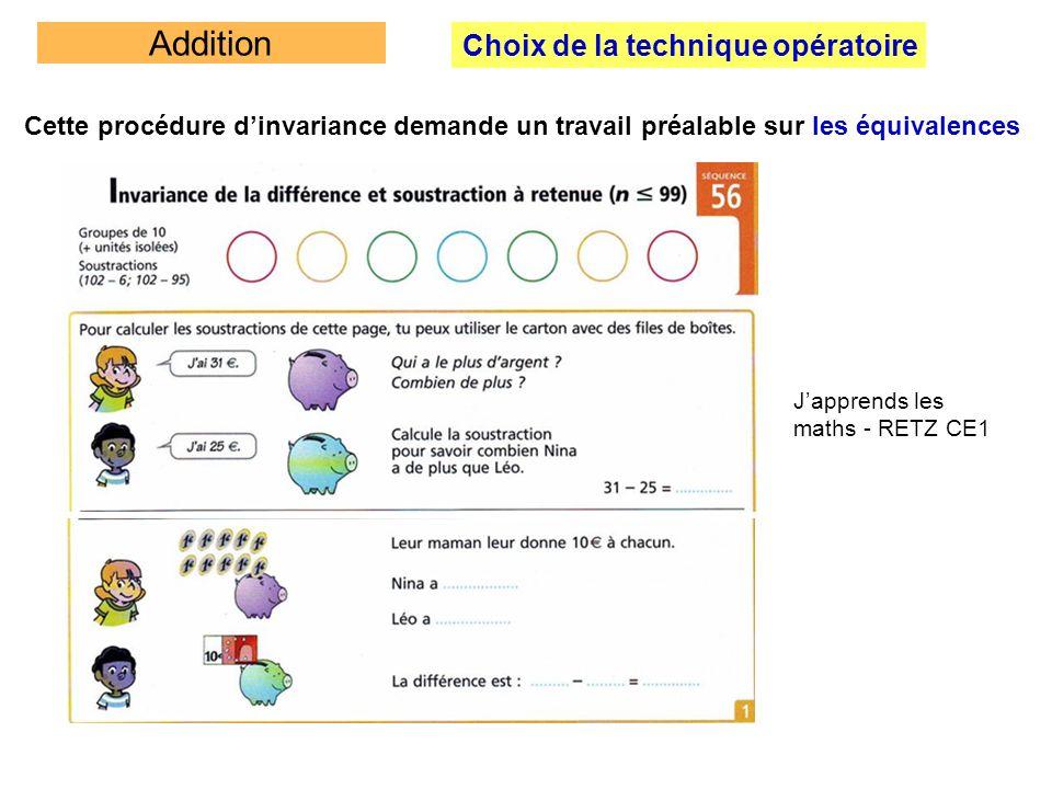 Addition Choix de la technique opératoire Cette procédure dinvariance demande un travail préalable sur les équivalences Japprends les maths - RETZ CE1
