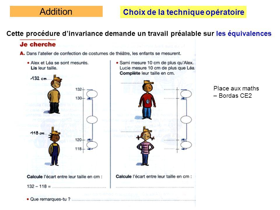 Addition Choix de la technique opératoire Cette procédure dinvariance demande un travail préalable sur les équivalences Place aux maths – Bordas CE2