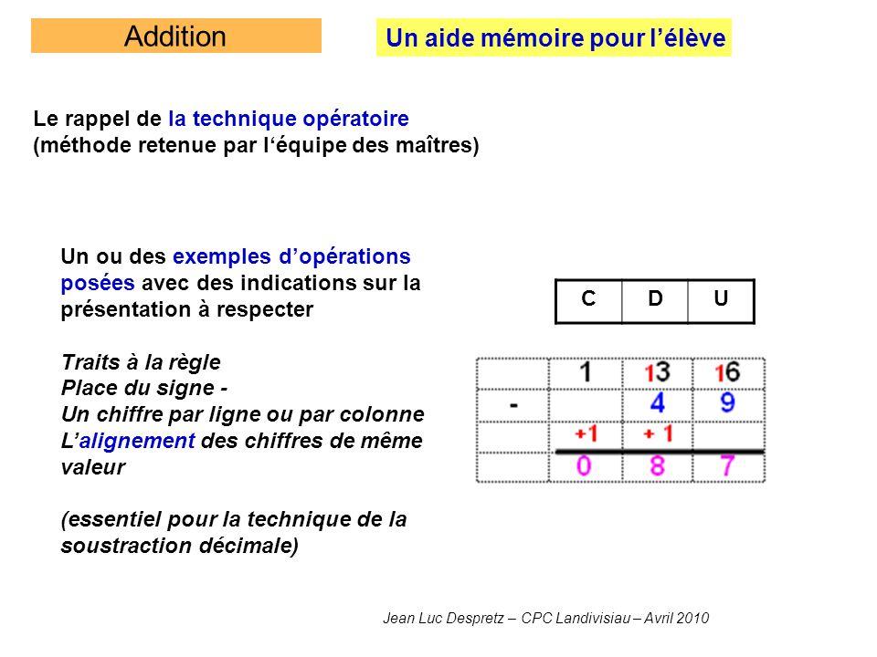 Addition Un aide mémoire pour lélève Le rappel de la technique opératoire (méthode retenue par léquipe des maîtres) Un ou des exemples dopérations pos
