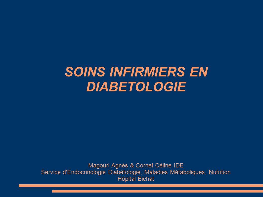 SOINS INFIRMIERS EN DIABETOLOGIE Magouri Agnès & Cornet Céline IDE Service d'Endocrinologie Diabétologie, Maladies Métaboliques, Nutrition Hôpital Bic
