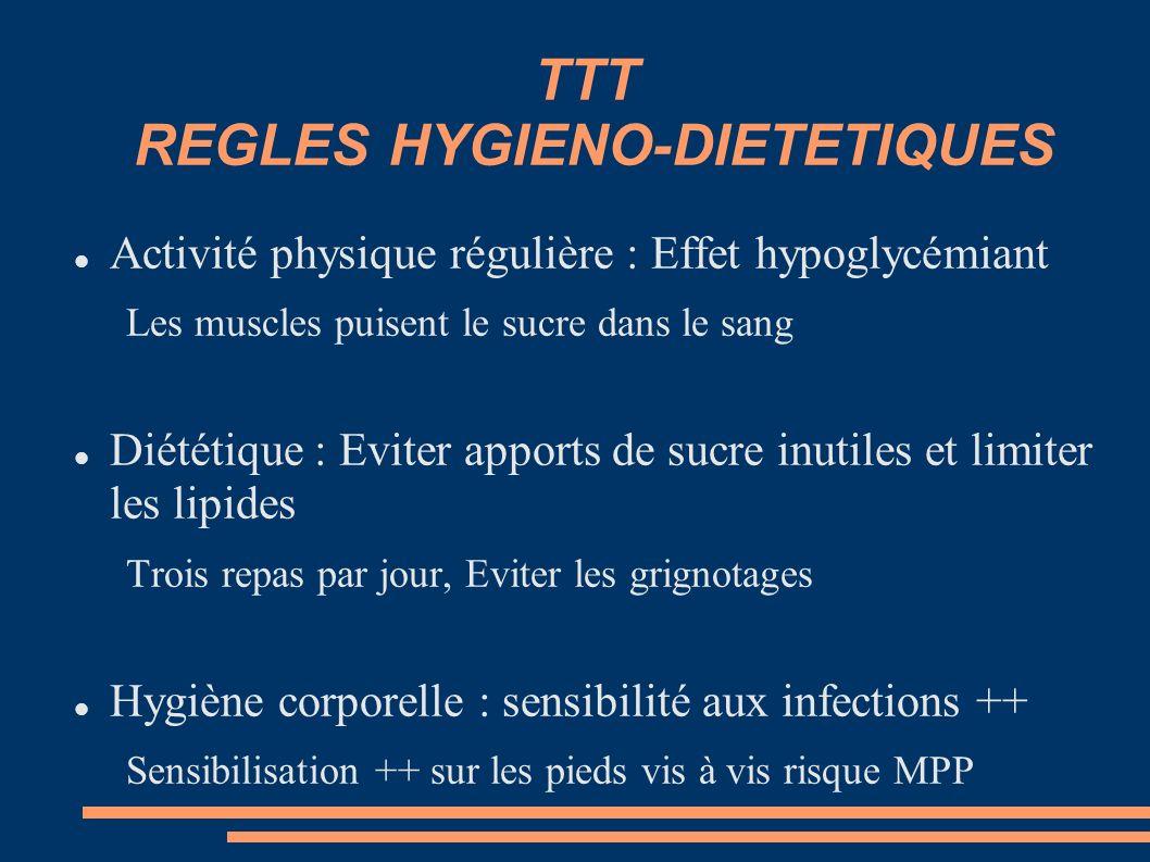TTT REGLES HYGIENO-DIETETIQUES Activité physique régulière : Effet hypoglycémiant Les muscles puisent le sucre dans le sang Diététique : Eviter apport