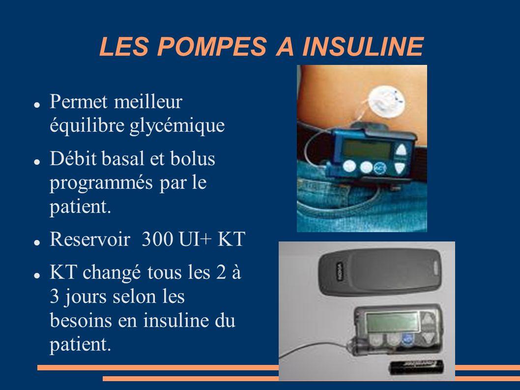 LES POMPES A INSULINE Permet meilleur équilibre glycémique Débit basal et bolus programmés par le patient. Reservoir 300 UI+ KT KT changé tous les 2 à