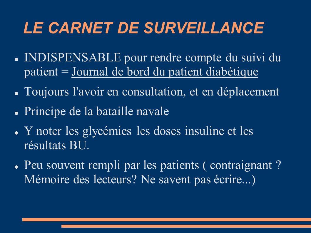 LE CARNET DE SURVEILLANCE INDISPENSABLE pour rendre compte du suivi du patient = Journal de bord du patient diabétique Toujours l'avoir en consultatio