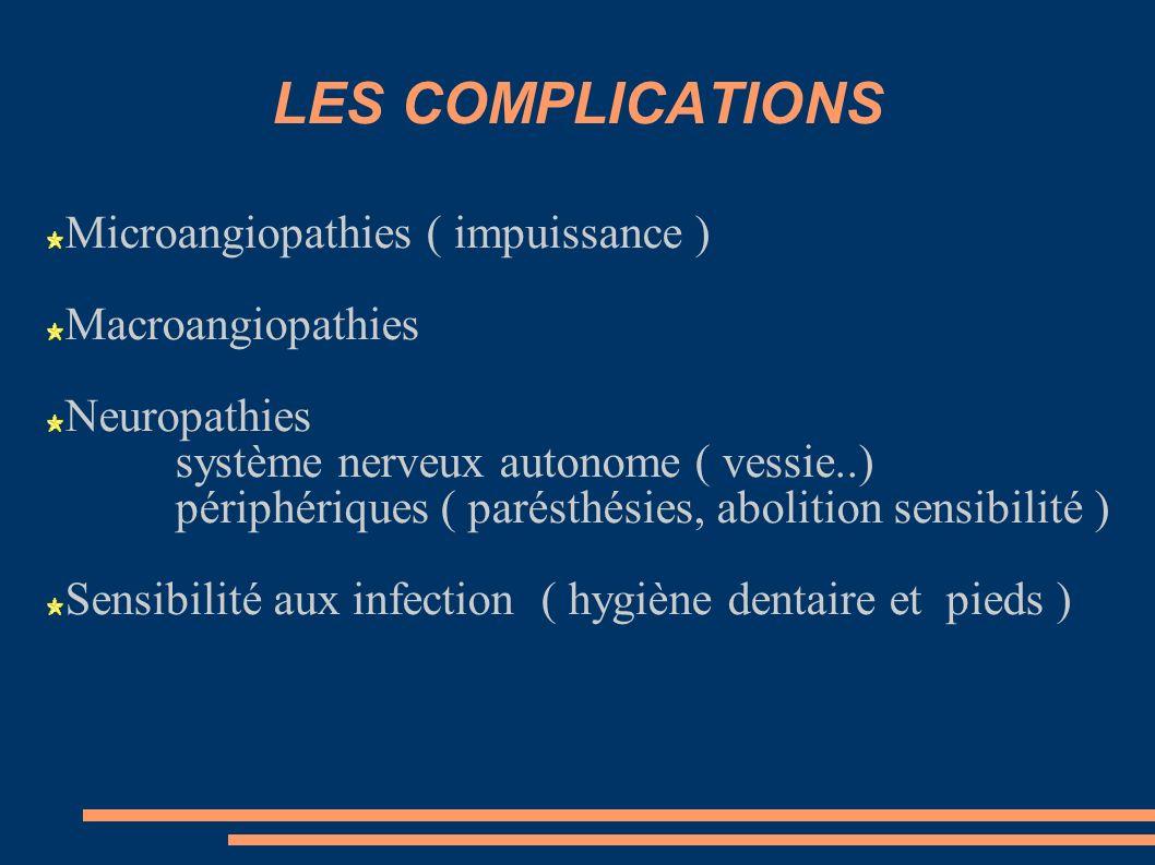 LES COMPLICATIONS Microangiopathies ( impuissance ) Macroangiopathies Neuropathies système nerveux autonome ( vessie..) périphériques ( parésthésies,