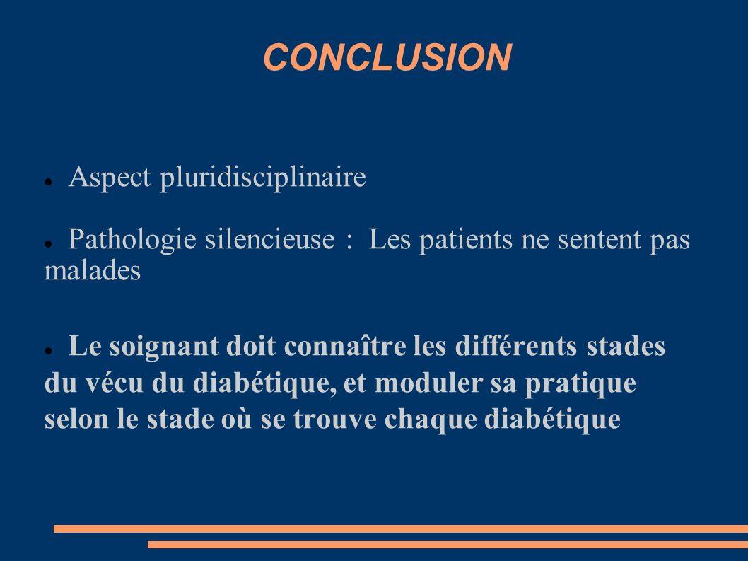 CONCLUSION Aspect pluridisciplinaire Pathologie silencieuse : Les patients ne sentent pas malades Le soignant doit connaître les différents stades du