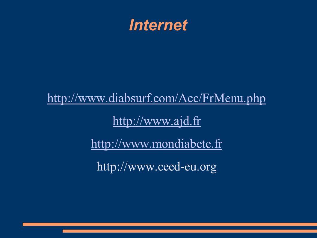 Internet http://www.diabsurf.com/Acc/FrMenu.php http://www.ajd.fr http://www.mondiabete.fr http://www.ceed-eu.org