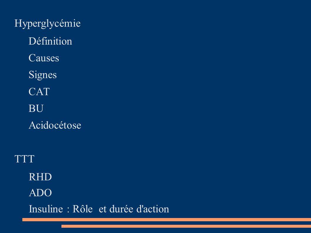 Hyperglycémie Définition Causes Signes CAT BU Acidocétose TTT RHD ADO Insuline : Rôle et durée d'action