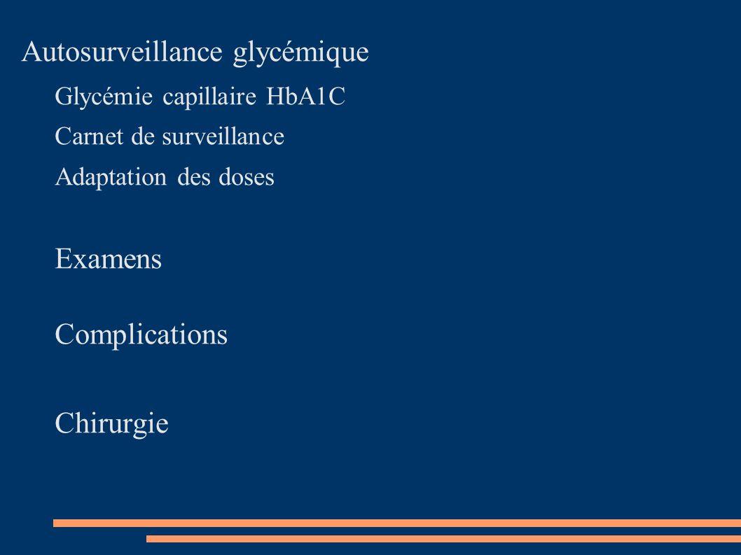 Autosurveillance glycémique Glycémie capillaire HbA1C Carnet de surveillance Adaptation des doses Examens Complications Chirurgie