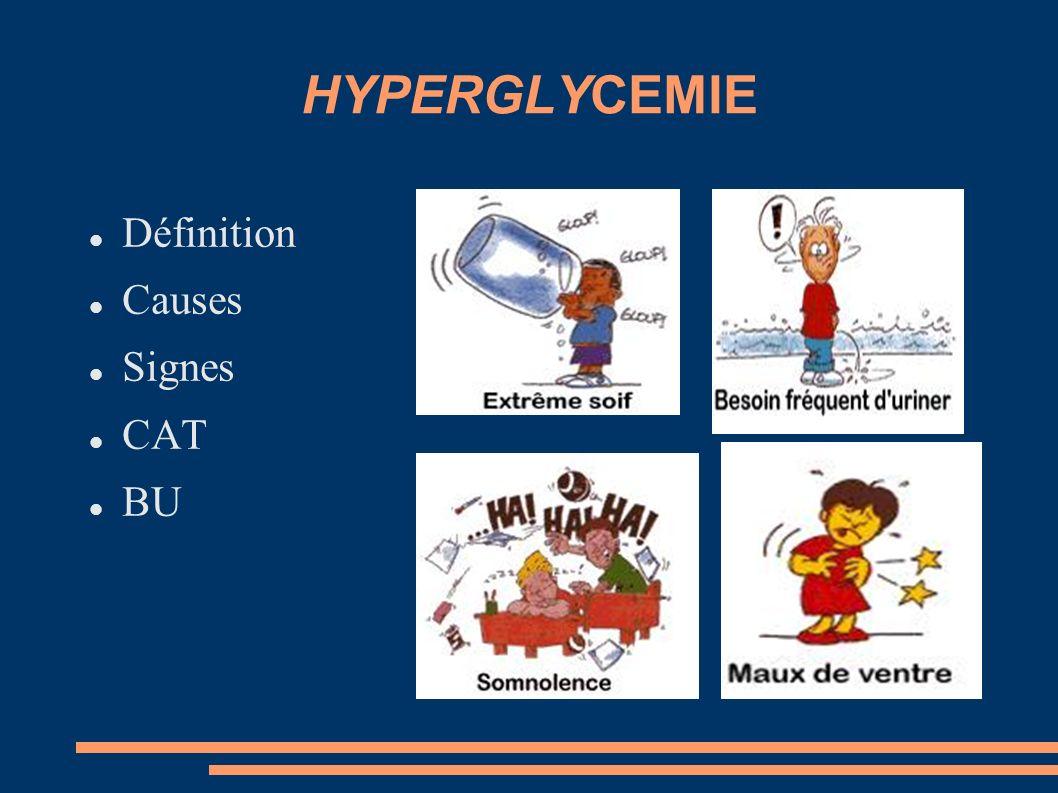 LA BANDELETTE URINAIRE Quand glycémie > 2.50 g/L Vérifier acétonurie car si cétonurie il y a cétonémie Anticiper acidocétose S+++ et A- : hyperglycémie simple Dès ++ : Urgences