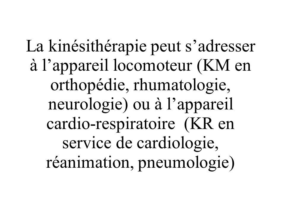 La kinésithérapie peut sadresser à lappareil locomoteur (KM en orthopédie, rhumatologie, neurologie) ou à lappareil cardio-respiratoire (KR en service