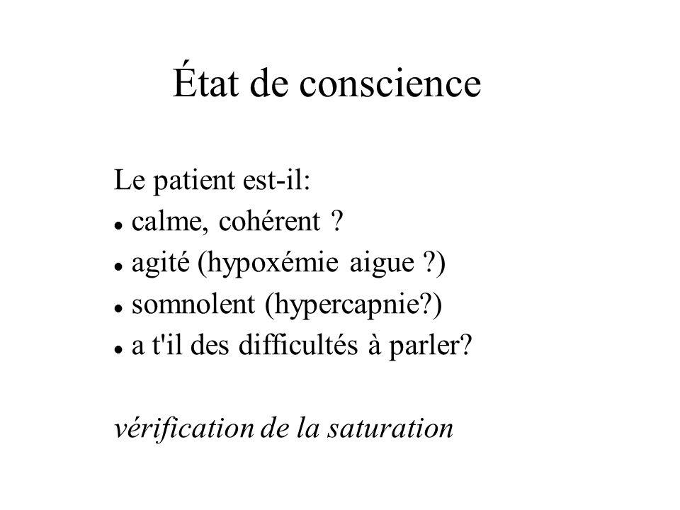État de conscience Le patient est-il: calme, cohérent ? agité (hypoxémie aigue ?) somnolent (hypercapnie?) a t'il des difficultés à parler? vérificati