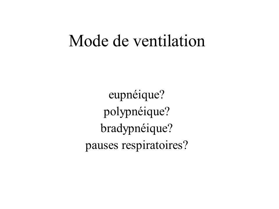 Mode de ventilation eupnéique? polypnéique? bradypnéique? pauses respiratoires?