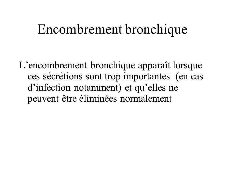 Encombrement bronchique Lencombrement bronchique apparaît lorsque ces sécrétions sont trop importantes (en cas dinfection notamment) et quelles ne peu