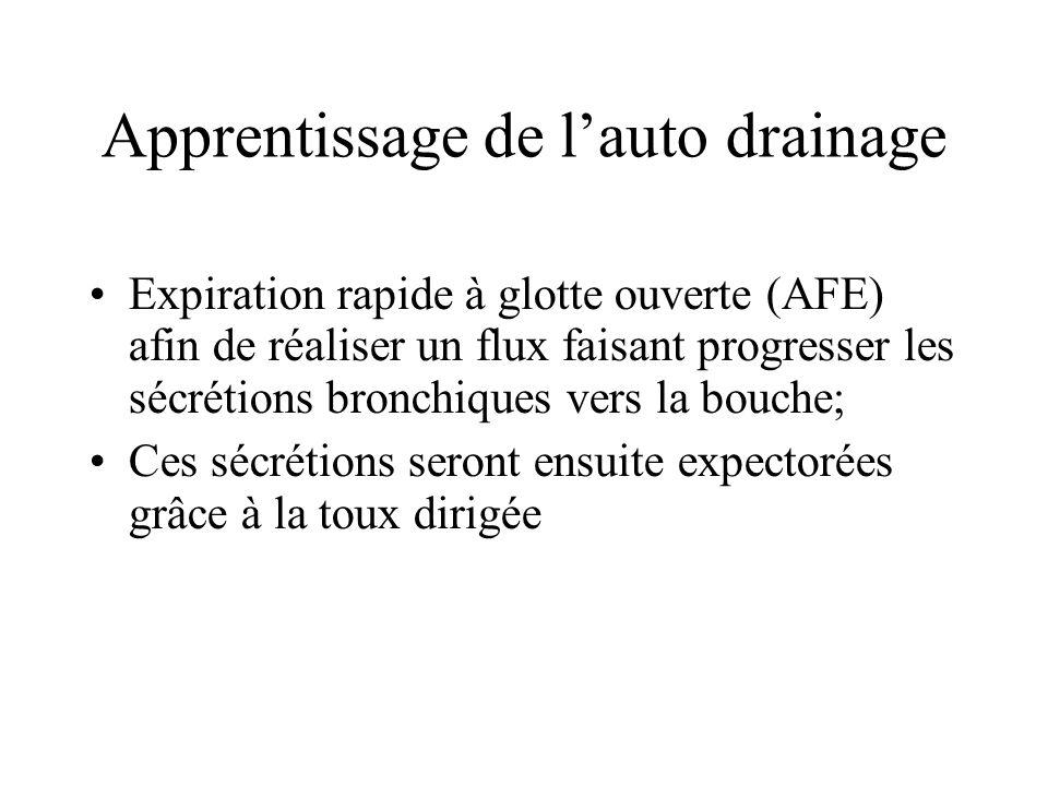 Apprentissage de lauto drainage Expiration rapide à glotte ouverte (AFE) afin de réaliser un flux faisant progresser les sécrétions bronchiques vers l