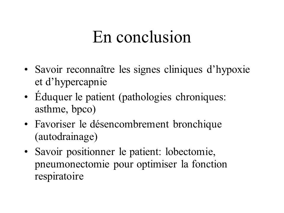 En conclusion Savoir reconnaître les signes cliniques dhypoxie et dhypercapnie Éduquer le patient (pathologies chroniques: asthme, bpco) Favoriser le