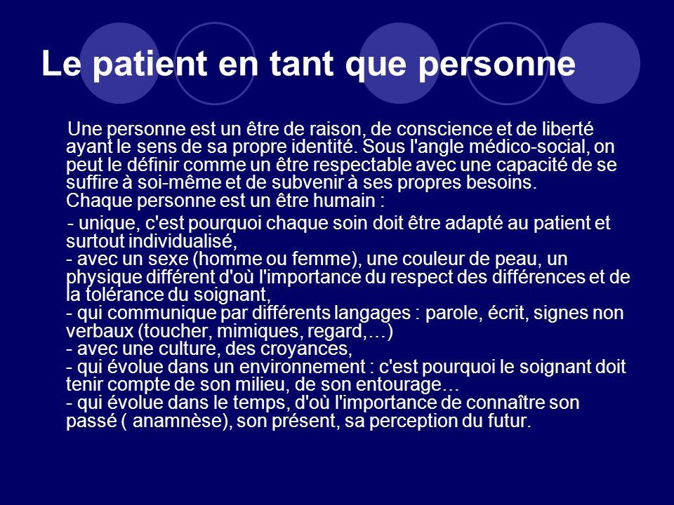 Le patient en tant que personne Une personne est un être de raison, de conscience et de liberté ayant le sens de sa propre identité. Sous l'angle médi