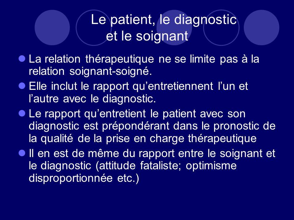 Le patient, le diagnostic et le soignant La relation thérapeutique ne se limite pas à la relation soignant-soigné. Elle inclut le rapport quentretienn