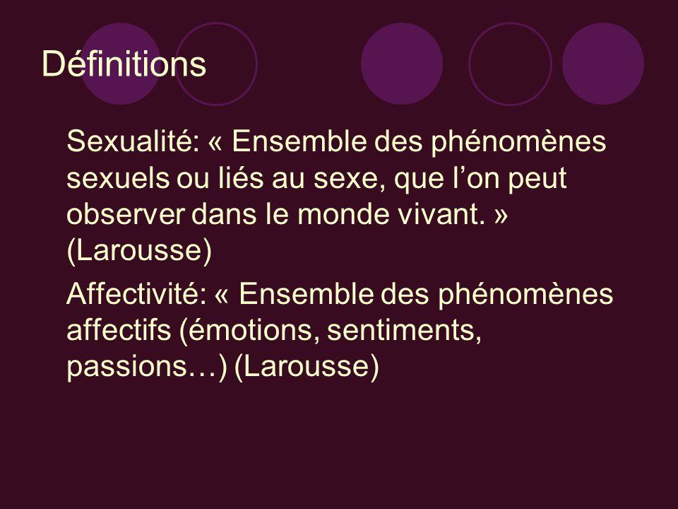 Définitions Sexualité: « Ensemble des phénomènes sexuels ou liés au sexe, que lon peut observer dans le monde vivant. » (Larousse) Affectivité: « Ense