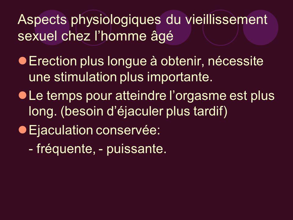 Aspects physiologiques du vieillissement sexuel chez lhomme âgé Erection plus longue à obtenir, nécessite une stimulation plus importante. Le temps po