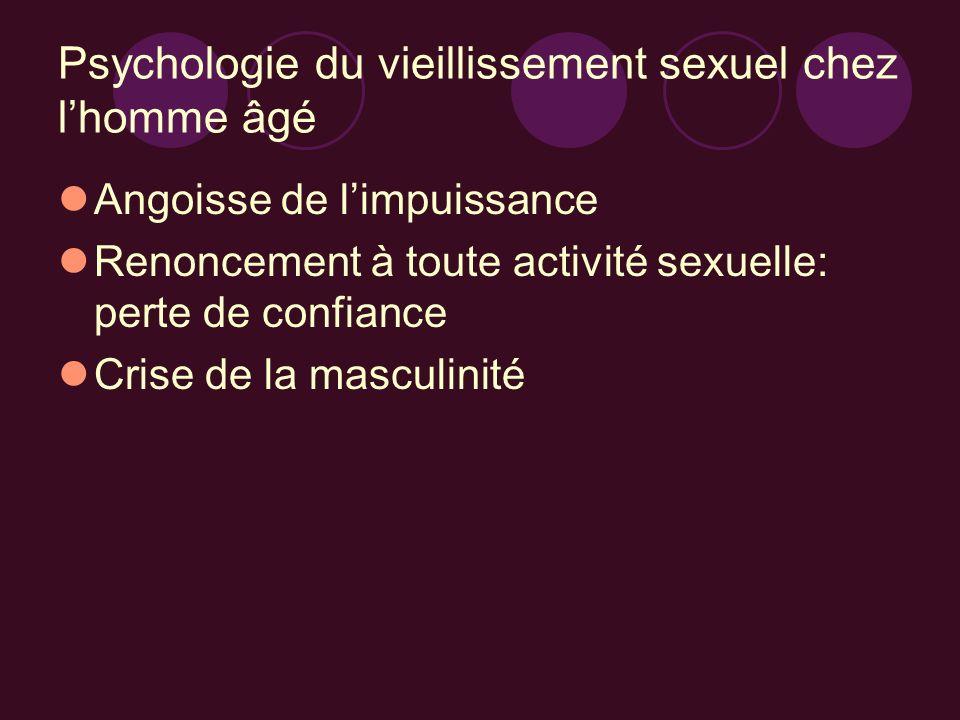 Psychologie du vieillissement sexuel chez lhomme âgé Angoisse de limpuissance Renoncement à toute activité sexuelle: perte de confiance Crise de la ma