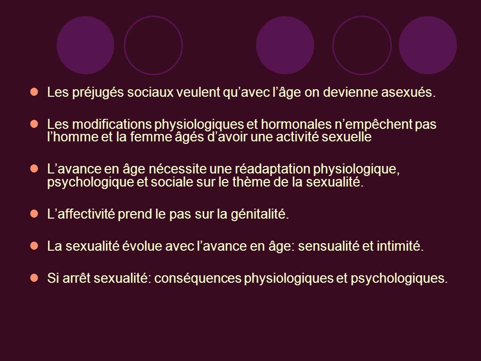 Les préjugés sociaux veulent quavec lâge on devienne asexués. Les modifications physiologiques et hormonales nempêchent pas lhomme et la femme âgés da