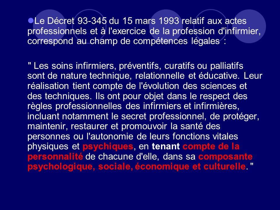 Le Décret 93-345 du 15 mars 1993 relatif aux actes professionnels et à l'exercice de la profession d'infirmier, correspond au champ de compétences lég