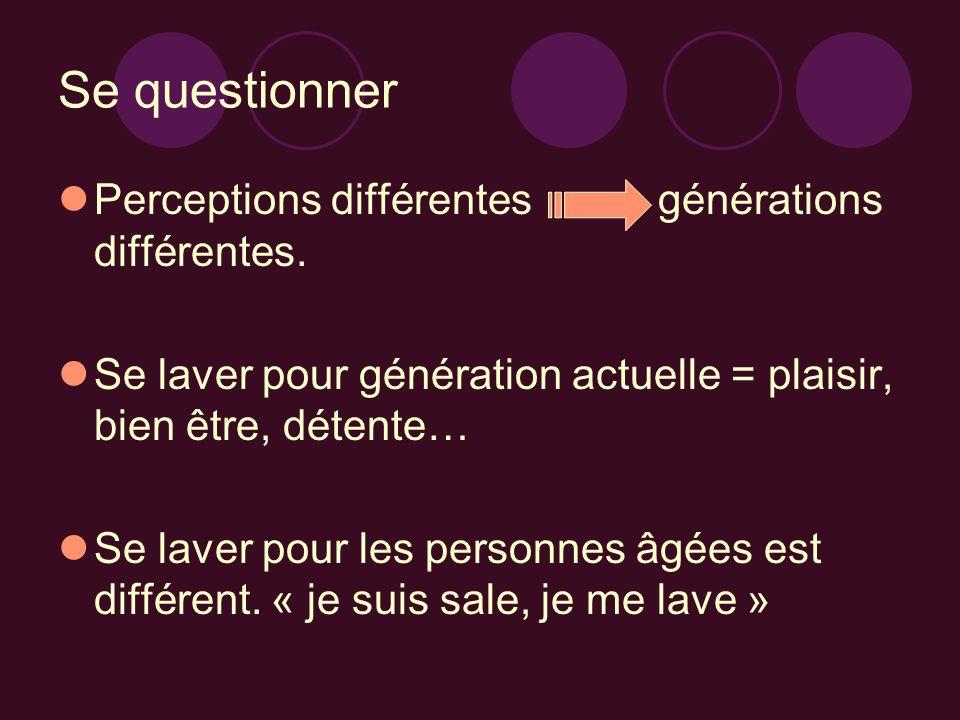 Se questionner Perceptions différentes générations différentes. Se laver pour génération actuelle = plaisir, bien être, détente… Se laver pour les per