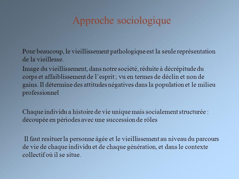 Approche sociologique Pour beaucoup, le vieillissement pathologique est la seule représentation de la vieillesse. Image du vieillissement, dans notre