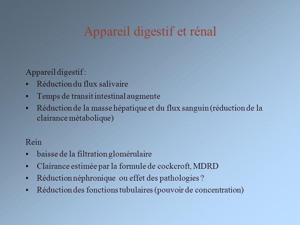Appareil digestif et rénal Appareil digestif : Réduction du flux salivaire Temps de transit intestinal augmente Réduction de la masse hépatique et du