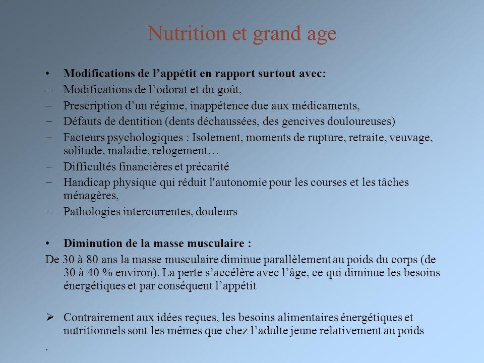 Nutrition et grand age Modifications de lappétit en rapport surtout avec: Modifications de lodorat et du goût, Prescription dun régime, inappétence du