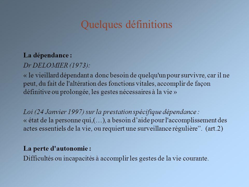 Quelques définitions La dépendance : Dr DELOMIER (1973): « le vieillard dépendant a donc besoin de quelqu'un pour survivre, car il ne peut, du fait de