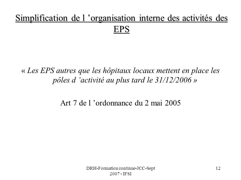 DRH-Formation continue-JCC-Sept 2007 - IFSI 12 Simplification de l organisation interne des activités des EPS « Les EPS autres que les hôpitaux locaux