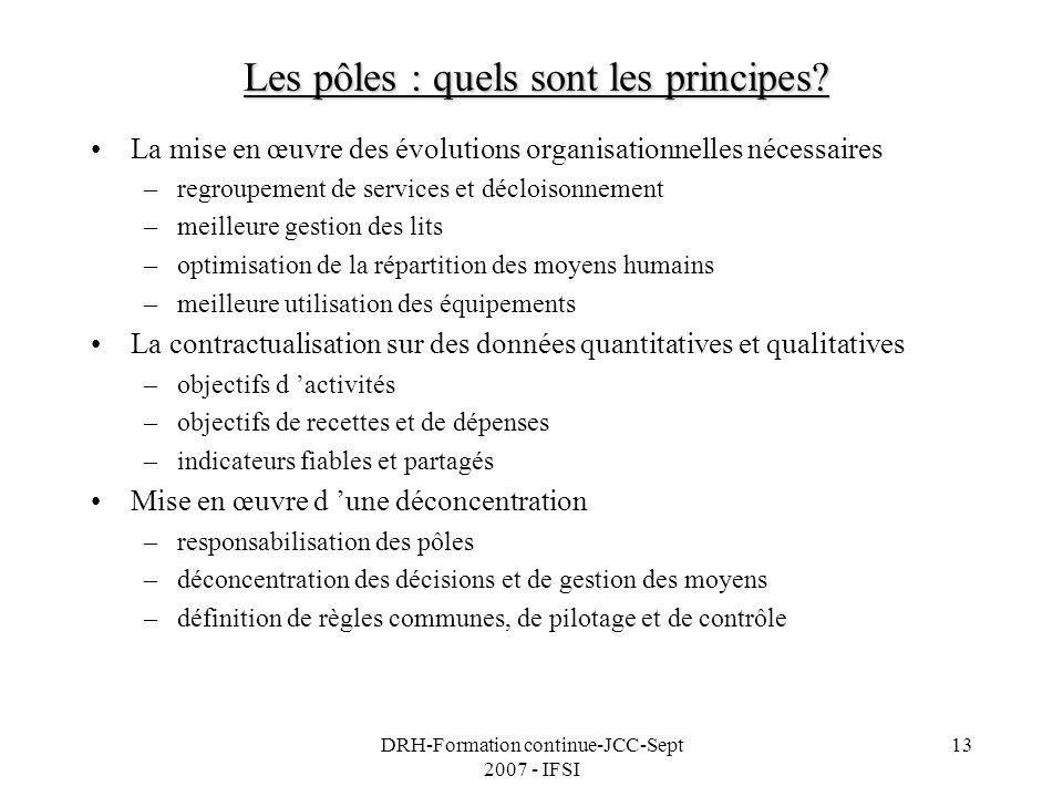 DRH-Formation continue-JCC-Sept 2007 - IFSI 13 Les pôles : quels sont les principes? La mise en œuvre des évolutions organisationnelles nécessaires –r