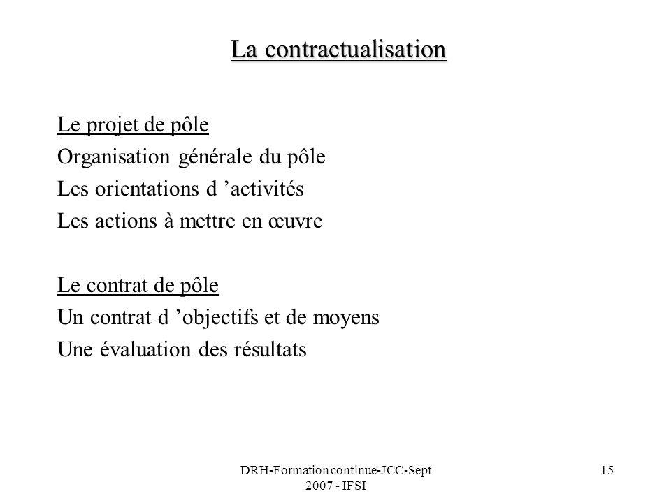 DRH-Formation continue-JCC-Sept 2007 - IFSI 15 La contractualisation Le projet de pôle Organisation générale du pôle Les orientations d activités Les