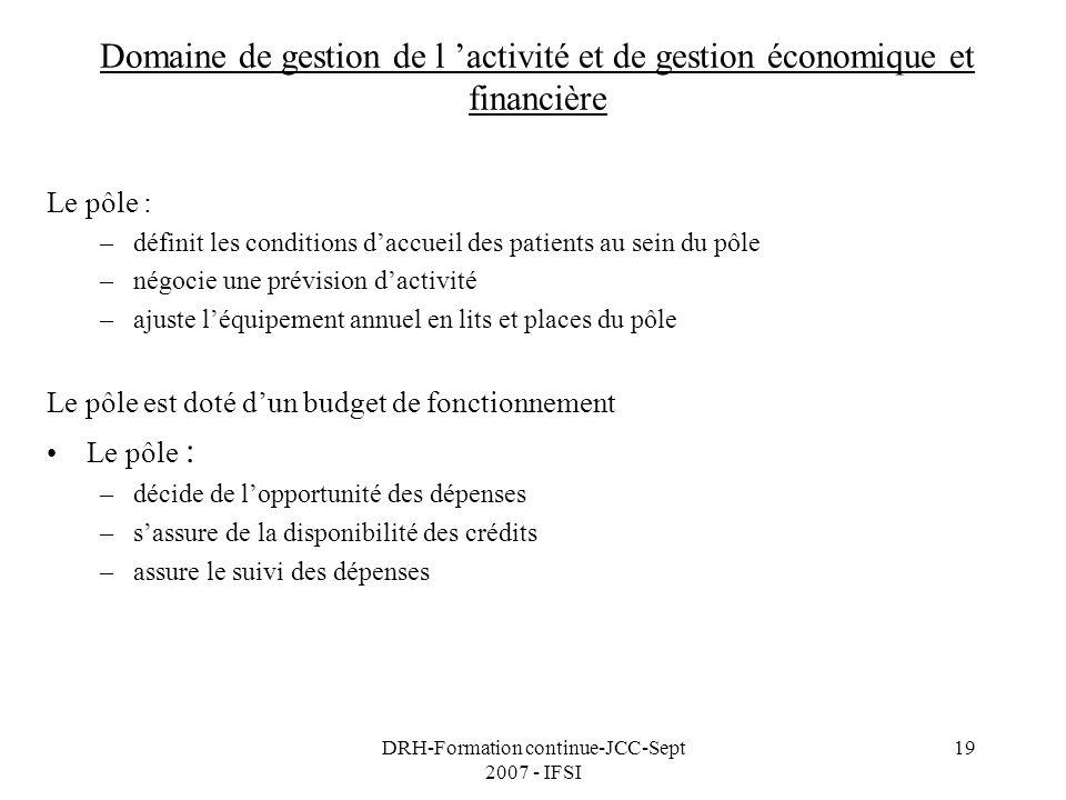 DRH-Formation continue-JCC-Sept 2007 - IFSI 19 Domaine de gestion de l activité et de gestion économique et financière Le pôle : –définit les conditio