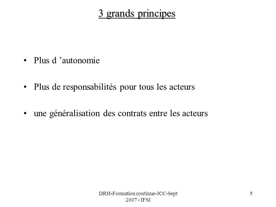 DRH-Formation continue-JCC-Sept 2007 - IFSI 5 3 grands principes Plus d autonomie Plus de responsabilités pour tous les acteurs une généralisation des