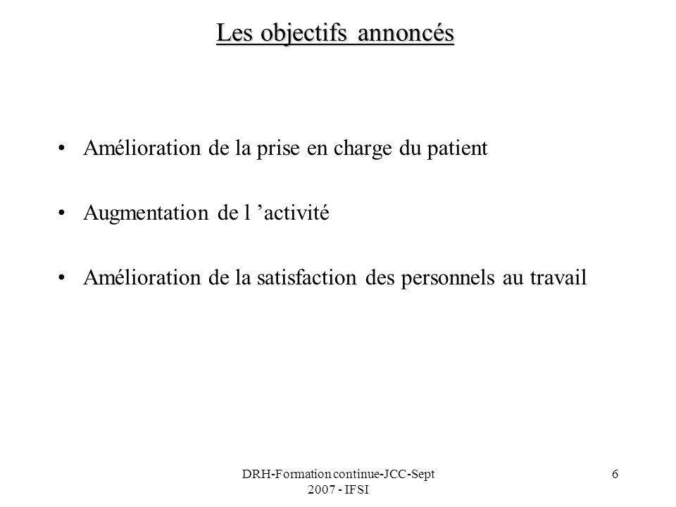 DRH-Formation continue-JCC-Sept 2007 - IFSI 6 Les objectifs annoncés Amélioration de la prise en charge du patient Augmentation de l activité Améliora
