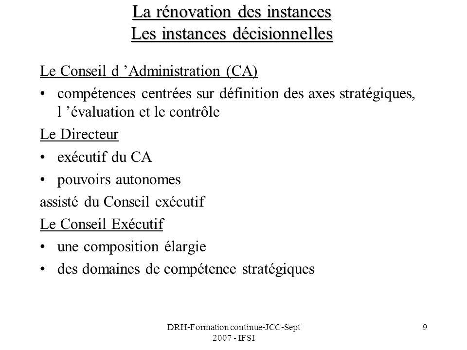 DRH-Formation continue-JCC-Sept 2007 - IFSI 9 La rénovation des instances Les instances décisionnelles Le Conseil d Administration (CA) compétences ce
