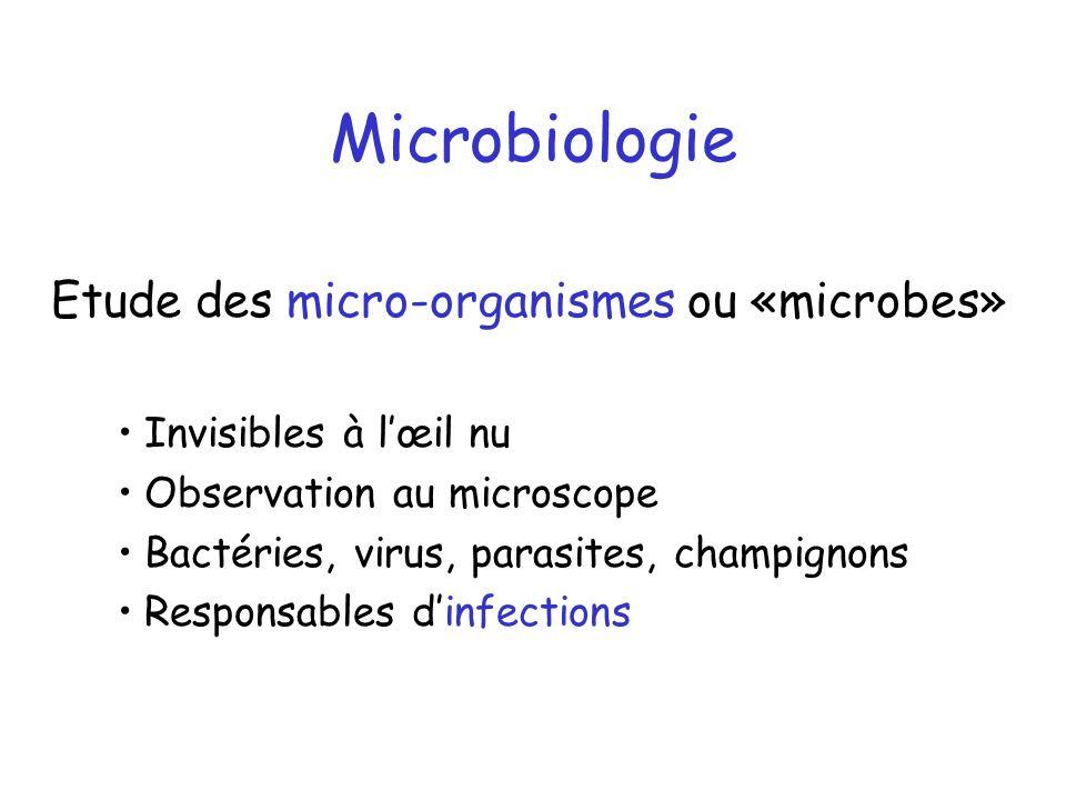 Microbiologie. microbiologie etude des micro-organismes ou «microbes