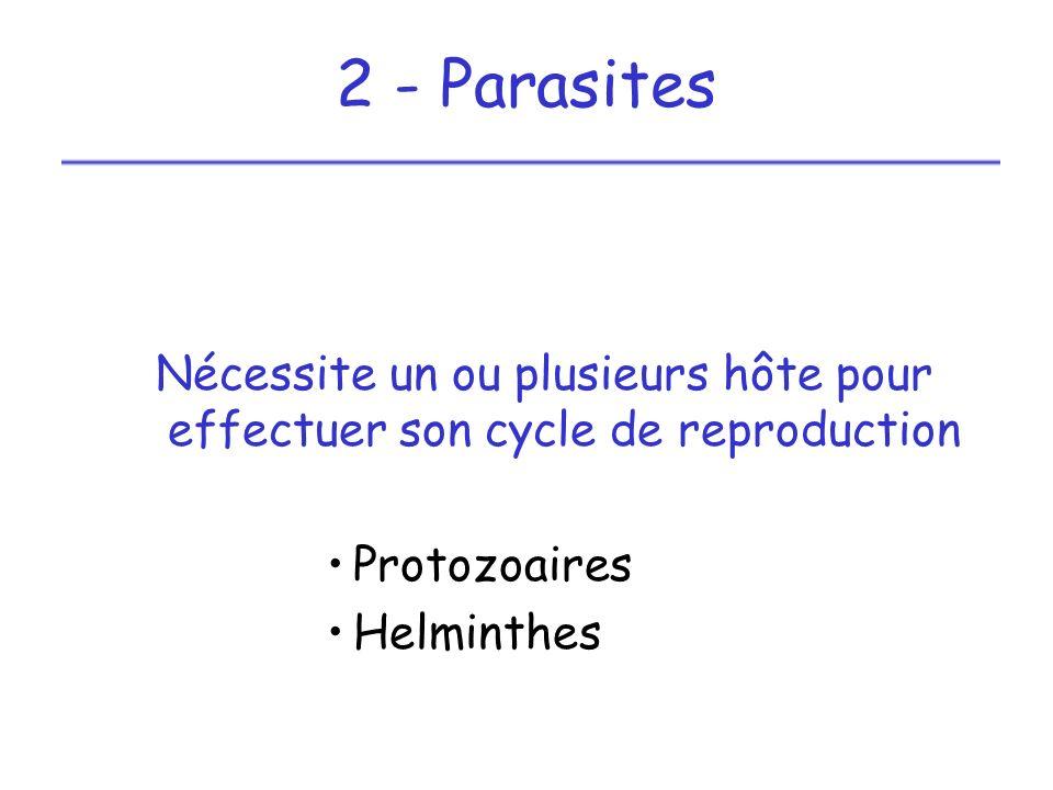 Parasite Protozoaires plasmodium : agent du paludisme toxoplasme : agent de la toxoplasmose
