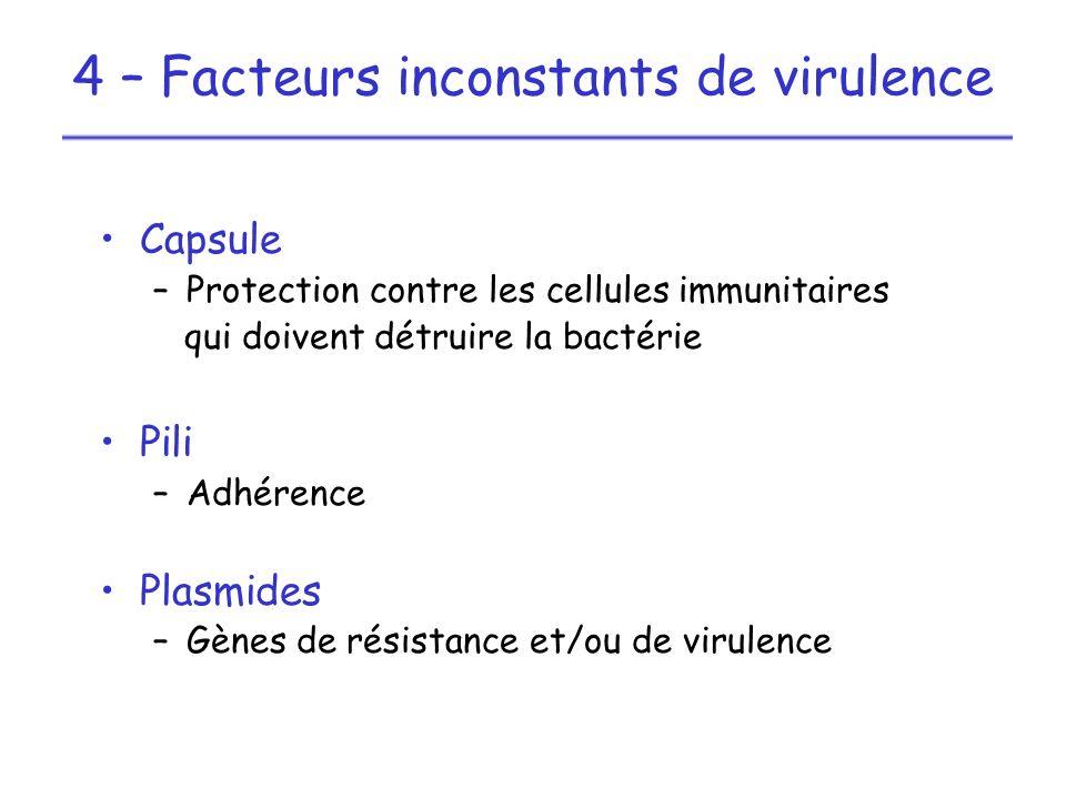 Capsule –Protection contre les cellules immunitaires qui doivent détruire la bactérie Pili –Adhérence Plasmides –Gènes de résistance et/ou de virulenc