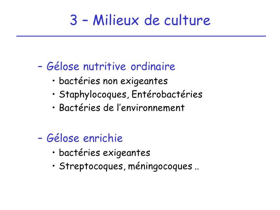 Etude des caractères : –Morphologiques (cocci, bacilles...) –Gram (négatif ou positif) –Culturaux (aérobies, anaérobies...) –Biochimiques (catalase, oxydase...) Classification