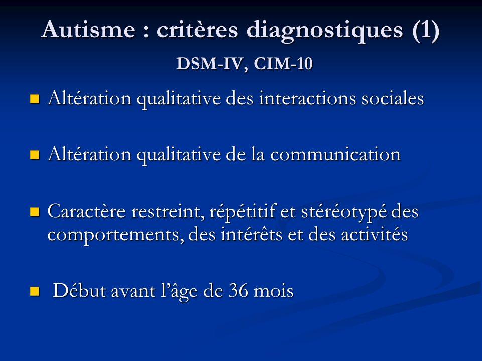 Autisme : critères diagnostiques (1) DSM-IV, CIM-10 Altération qualitative des interactions sociales Altération qualitative des interactions sociales