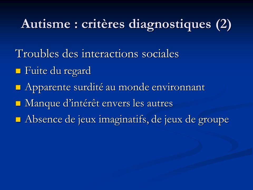 Autisme : critères diagnostiques (2) Troubles des interactions sociales Fuite du regard Fuite du regard Apparente surdité au monde environnant Apparen