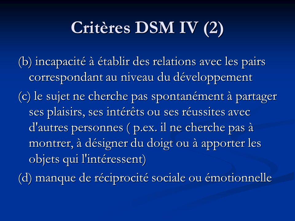 Critères DSM IV (2) (b) incapacité à établir des relations avec les pairs correspondant au niveau du développement (c) le sujet ne cherche pas spontan