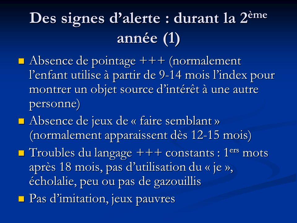 Des signes dalerte : durant la 2 ème année (1) Absence de pointage +++ (normalement lenfant utilise à partir de 9-14 mois lindex pour montrer un objet